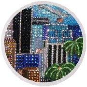 Los Angeles. Rhinestone Mosaic With Beadwork Round Beach Towel