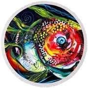 Abstract Baboon Fish Round Beach Towel