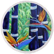 Abstract Bamboo And Birds Of Paradise 04 Round Beach Towel