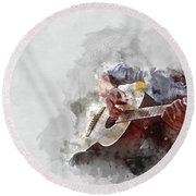 Abstract Beautiful Playing Guitar In The Foreground On Watercolor Painting Background. Round Beach Towel