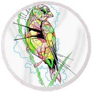 Abstract Bird 01 Round Beach Towel