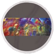 Abstract Birds Round Beach Towel