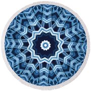 Abstract Blue 16 Round Beach Towel