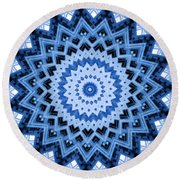 Abstract Blue 17 Round Beach Towel