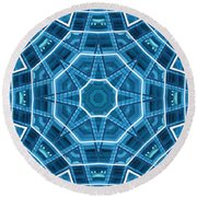 Abstract Blue 18 Round Beach Towel