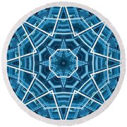Abstract Blue 19 Round Beach Towel