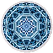 Abstract Blue 22 Round Beach Towel