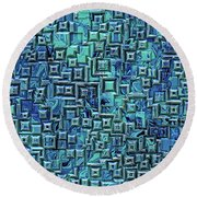 Abstract Blue And Green Pattern Round Beach Towel