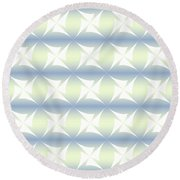 Abstract Blue And White Background Round Beach Towel