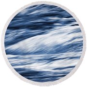 Abstract Blue Background Wild River Round Beach Towel