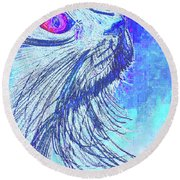 Abstract Blue Cat Round Beach Towel