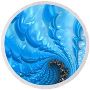 Abstract Blue Winter Fractal Round Beach Towel
