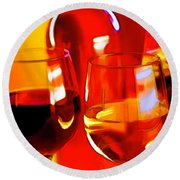 Abstract Bottle Of Wine And Glasses Of Red And White Round Beach Towel