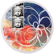 Abstract Buddha Round Beach Towel