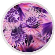 Abstract Burst Of Flowers Round Beach Towel