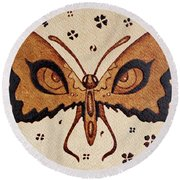 Abstract Butterfly Coffee Painting Round Beach Towel