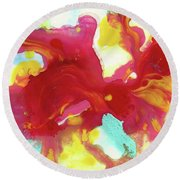 Abstract Butterfly Floral Round Beach Towel