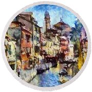 Abstract Canal Scene In Venice L B Round Beach Towel