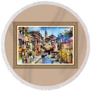 Abstract Canal Scene In Venice L A S With Decorative Ornate Printed Frame. Round Beach Towel