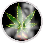 Abstract Cannabis Background Round Beach Towel