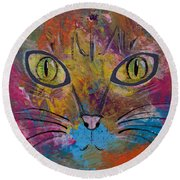 Abstract Cat Meow Round Beach Towel