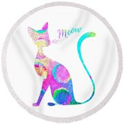 Abstract Cat Round Beach Towel