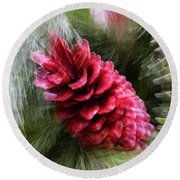Abstract Christmas Card - Red Pine Cone Blast Round Beach Towel