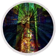 Abstract City In Green Round Beach Towel
