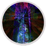 Abstract City In Purple Round Beach Towel