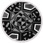 Abstract Cobblestone Blk/wht. Round Beach Towel