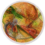 Abstract Color Swirls Round Beach Towel