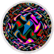 Abstract Colorful Art Exploded View Of Whirlwind At Its Builds On Dry Leaves Round Beach Towel