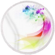 Abstract Colorful Curved Round Beach Towel by Setsiri Silapasuwanchai