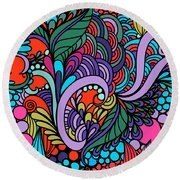 Abstract Colorful Floral Design Round Beach Towel