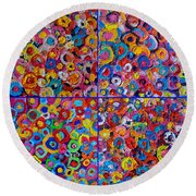 Abstract Colorful Flowers 4 Round Beach Towel