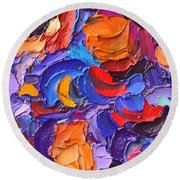 Abstract Colorful Flowers Impasto Palette Knife Modern Impressionist Oil Painting Ana Maria Edulescu Round Beach Towel