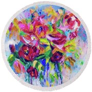 Abstract Colorful Flowers Round Beach Towel