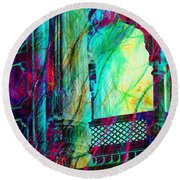 Abstract Colorful Window Balcony Exotic Travel India Rajasthan 1a Round Beach Towel