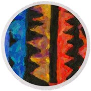 Abstract Combination Of Colors No 5 Round Beach Towel