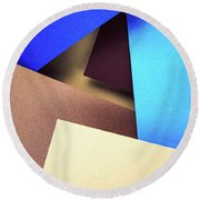 Abstract Composition With Colored Paper Round Beach Towel