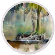 Abstract Contemporary Art Titled Humanity And Natures Gift By Todd Krasovetz  Round Beach Towel