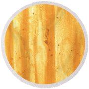 Abstract Contemporary Golden Yellow Painting Vibrant And Bold Yellow Gold By Madart Round Beach Towel