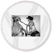 Abstract Cowboy And Horse Round Beach Towel
