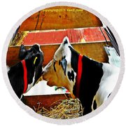 Abstract Cows Round Beach Towel