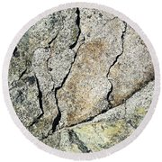 Abstract Cracks On A Granite Block Of Stone Round Beach Towel
