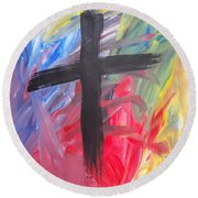 Abstract Cross Round Beach Towel