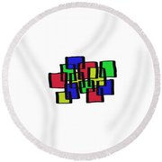 Abstract Cubicles Round Beach Towel