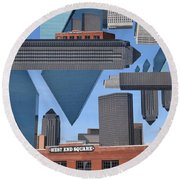 Abstract Dallas Round Beach Towel