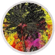 Abstract Dandelion Stained Glass Round Beach Towel