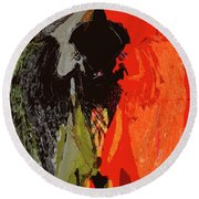Abstract Dark Angel Round Beach Towel